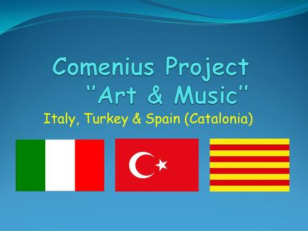 Italy, Turkey & Spain (Catalonia). Comenius aims are to: Improve and increase the mobility of pupils and educational staff across the EU Improve our English.