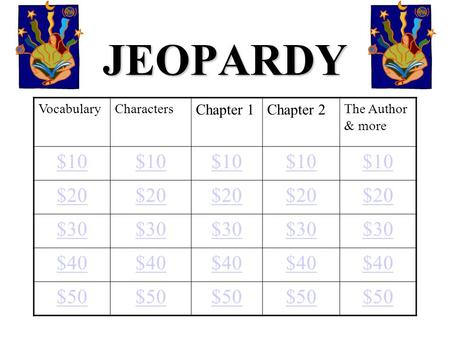 JEOPARDY VocabularyCharacters Chapter 1Chapter 2 The Author & more $10 $20 $30 $40 $50.