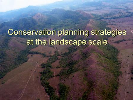 Conservation planning strategies at the landscape scale.