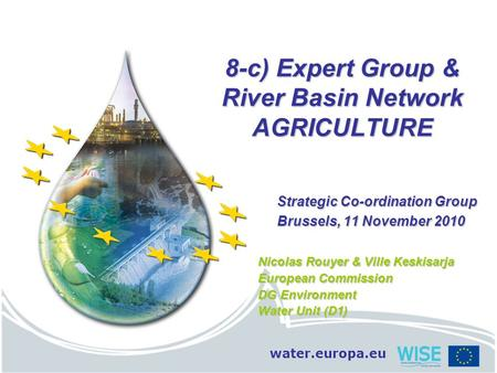 Water.europa.eu 8-c) Expert Group & River Basin Network AGRICULTURE Strategic Co-ordination Group Brussels, 11 November 2010 Nicolas Rouyer & Ville Keskisarja.
