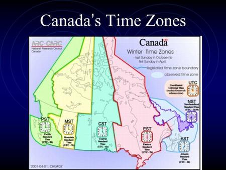 Canada's Time Zones To improve communications and create a uniform system of time, a Canadian named Sir Sanford Fleming came up with the idea that the.