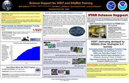 Center for Satellite Applications and Research (STAR) Review 09 – 11 March 2010 STAR Science Support Science Support for VISIT and SHyMet Training Mark.