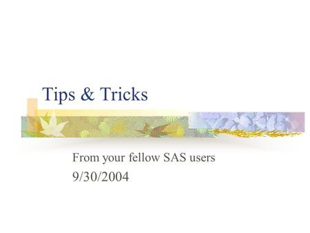 Tips & Tricks From your fellow SAS users 9/30/2004.