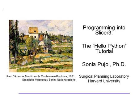 Programming into Slicer3. Sonia Pujol, Ph.D., Harvard Medical School National Alliance for Medical Image Computing  ©