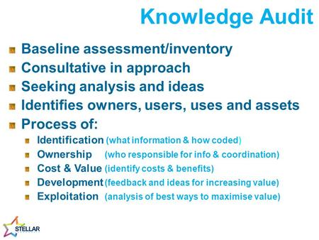 Knowledge Audit Baseline assessment/inventory Consultative in approach