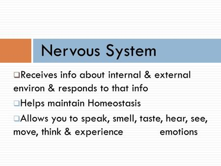 Nervous System Receives info about internal & external environ & responds to that info Helps maintain Homeostasis Allows you to speak, smell, taste, hear,