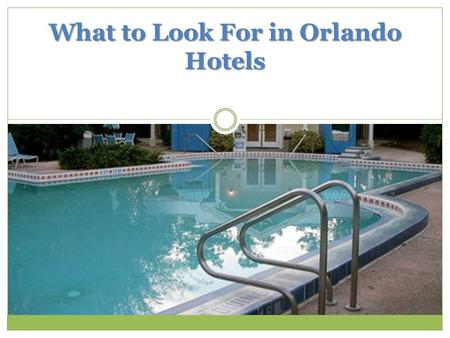 What to Look For in Orlando Hotels. Florida can be a great place to vacation, and Orlando hotels offer a variety of amenities that can lure a traveler.