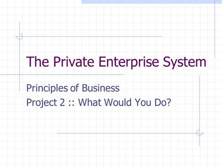 The Private Enterprise System Principles of Business Project 2 :: What Would You Do?