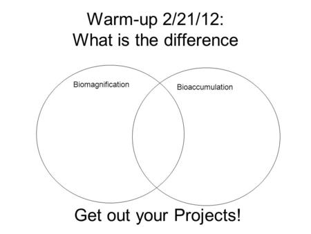 Warm-up 2/21/12: What is the difference Biomagnification Bioaccumulation Get out your Projects!