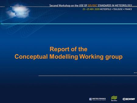 Report of the Conceptual Modelling Working group.
