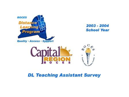 CRB Distance Learning Project Teaching Assistant Survey 2003 – 2004 School Year... BOCES Distance Learning Program Quality Access Support.