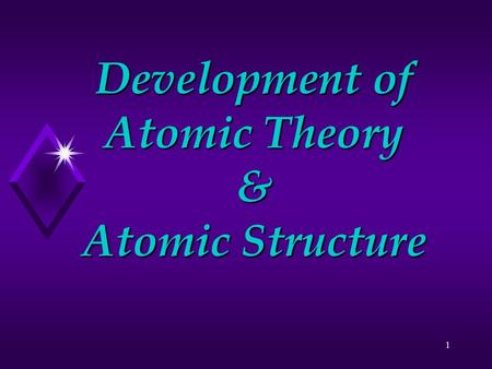 1 Development of Atomic Theory & Atomic Structure.