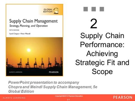 © 2012 Prentice Hall Inc.1 PowerPoint presentation to accompany Chopra and Meindl Supply Chain Management, 5e Global Edition 1-1 Copyright ©2013 Pearson.