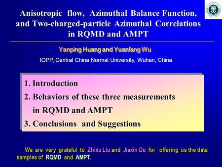 Anisotropic flow, Azimuthal Balance Function, and Two-charged-particle Azimuthal Correlations in RQMD and AMPT We are very grateful to Zhixu Liu and Jiaxin.
