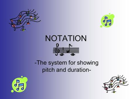 NOTATION -The system for showing pitch and duration-
