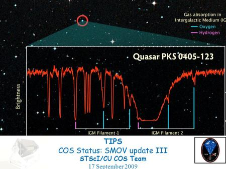 TIPS COS Status: SMOV update III STScI/CU COS Team 17 September 2009.