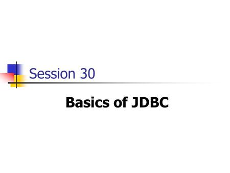 Session 30 Basics of JDBC. Java Simplified / Session 30 / 2 of 33 Review A Swing menu consists of a menubar, menuitems and menus. Trees are used to depict.