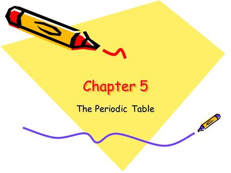 "Chapter 5 The Periodic Table 5-1 Organizing the Elements What does the word ""periodic"" mean? Periodic: recurring at regular intervals Periodic table."