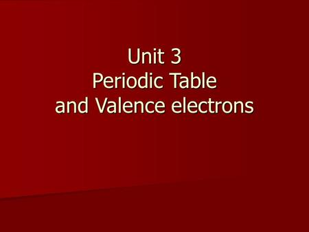 Unit 3 Periodic Table and Valence electrons. Modern Periodic Table Elements are arranged by increasing atomic number. Elements are arranged by increasing.
