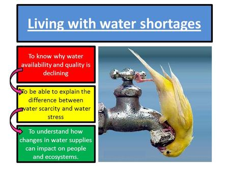 Living with water shortages To know why water availability and quality is declining To be able to explain the difference between water scarcity and water.