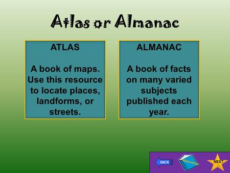 Atlas or Almanac ATLAS A book of maps. Use this resource to locate places, landforms, or streets. BACK NEXT ALMANAC A book of facts on many varied subjects.