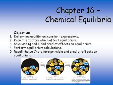Chapter 16 – Chemical Equilibria Objectives: 1.Determine equilibrium constant expressions. 2.Know the factors which affect equilibrium. 3.Calculate Q and.