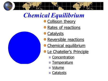 Chemical Equilibrium Collision theory Rates of reactions Catalysts Reversible reactions Chemical equilibrium Le Chatelier's Principle Concentration Temperature.
