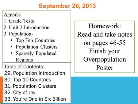 September 20, 2013 Agenda: 1.Grade Tests 2.Unit 2 Introduction 3.Population- Top Ten Countries Population Clusters Sparsely Populated Regions Table of.