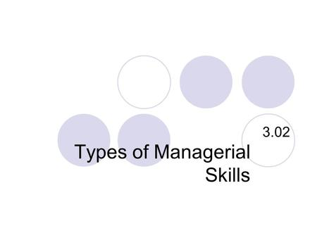 Types of Managerial Skills 3.02. Networking and Communication Techniques competent at correspondence, clear, concise, focus on client Respond to phone.