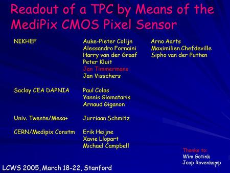 1 Readout of a TPC by Means of the MediPix CMOS Pixel Sensor NIKHEFAuke-Pieter Colijn Arno Aarts Alessandro Fornaini Maximilien Chefdeville Harry van der.