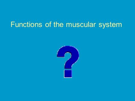 Functions of the muscular system. Stabilize joints with their TENDONS (connect muscle to bone) Relaxes and contracts, and provides force to move your.