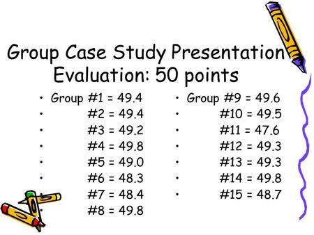 Group Case Study Presentation Evaluation: 50 points Group #1 = 49.4 #2 = 49.4 #3 = 49.2 #4 = 49.8 #5 = 49.0 #6 = 48.3 #7 = 48.4 #8 = 49.8 Group #9 = 49.6.