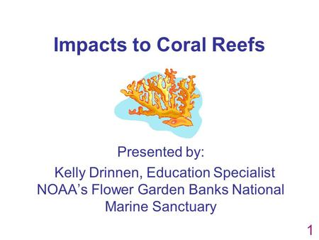 Impacts to Coral Reefs Presented by: Kelly Drinnen, Education Specialist NOAA's Flower Garden Banks National Marine Sanctuary 1.