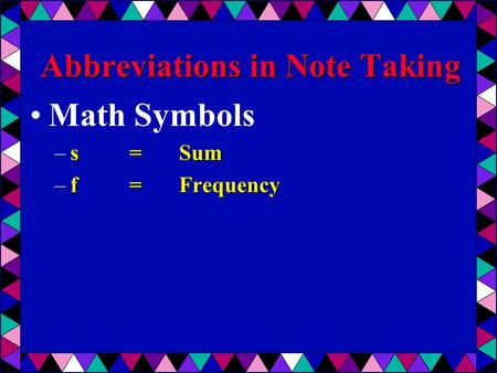 Abbreviations in Note Taking