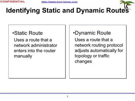 1 Identifying Static and Dynamic Routes Static Route Uses a route that a network administrator enters into the router manually Dynamic Route Uses a route.