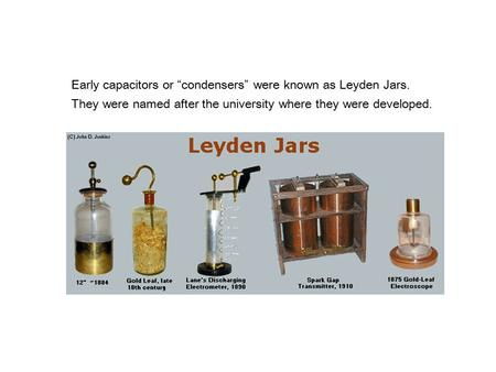 "Early capacitors or ""condensers"" were known as Leyden Jars."