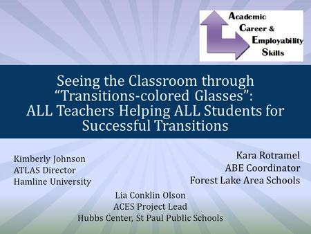 "Seeing the Classroom through ""Transitions-colored Glasses"": ALL Teachers Helping ALL Students for Successful Transitions Kimberly Johnson ATLAS Director."