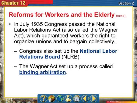 Section 2 In July 1935 Congress passed the National Labor Relations Act (also called the Wagner Act), which guaranteed workers the right to organize unions.