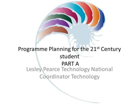 Programme Planning for the 21 st Century student PART A Lesley Pearce Technology National Coordinator Technology.