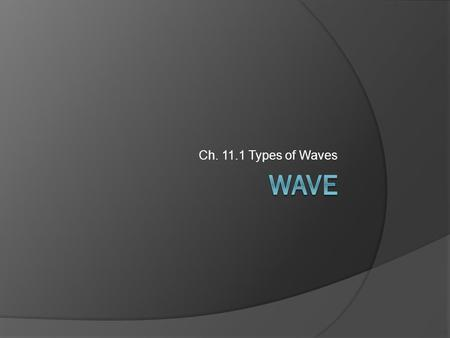 Ch. 11.1 Types of Waves. Section 11.1 Objectives  Recognize that waves transfer energy.  Distinguish between mechanical waves and electromagnetic waves.