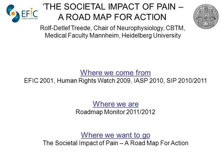 Where we come from EFIC 2001, Human Rights Watch 2009, IASP 2010, SIP 2010/2011 Where we are Roadmap Monitor 2011/2012 Where we want to go The Societal.