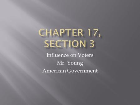 Influence on Voters Mr. Young American Government.