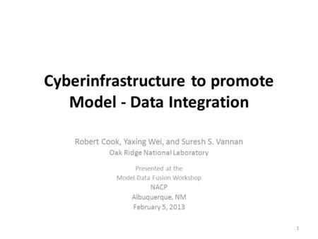 Cyberinfrastructure to promote Model - Data Integration Robert Cook, Yaxing Wei, and Suresh S. Vannan Oak Ridge National Laboratory Presented at the Model-Data.