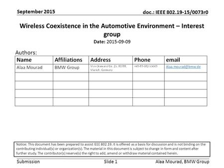 Submission doc.: IEEE 802.19-15/0073r0 September 2015 Alaa Mourad, BMW GroupSlide 1 Wireless Coexistence in the Automotive Environment – Interest group.
