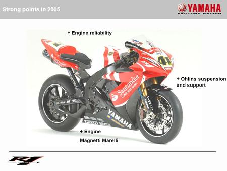 + Engine Magnetti Marelli + Engine reliability + Ohlins suspension and support Strong points in 2005.