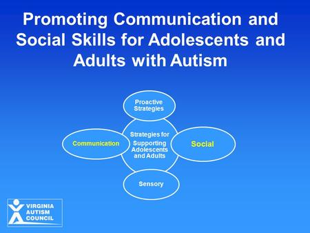 Promoting Communication and Social Skills for Adolescents and Adults with Autism Strategies for Supporting Adolescents and Adults Proactive Strategies.