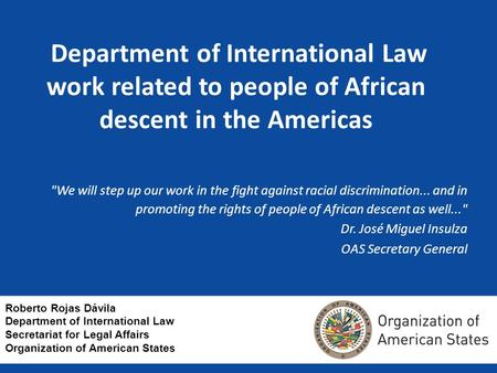 Department of International Law work related to people of African descent in the Americas We will step up our work in the fight against racial discrimination...