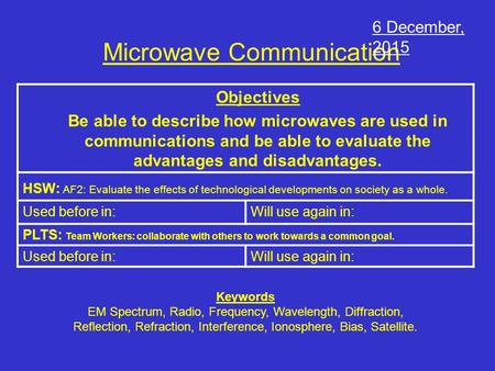 Microwave Communication Objectives Be able to describe how microwaves are used in communications and be able to evaluate the advantages and disadvantages.