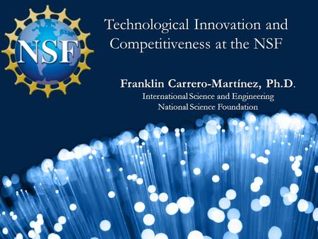 Technological Innovation and Competitiveness at the NSF Franklin Carrero-Martínez, Ph.D. International Science and Engineering National Science Foundation.