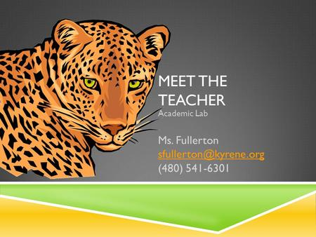 MEET THE TEACHER Academic Lab Ms. Fullerton (480) 541-6301.